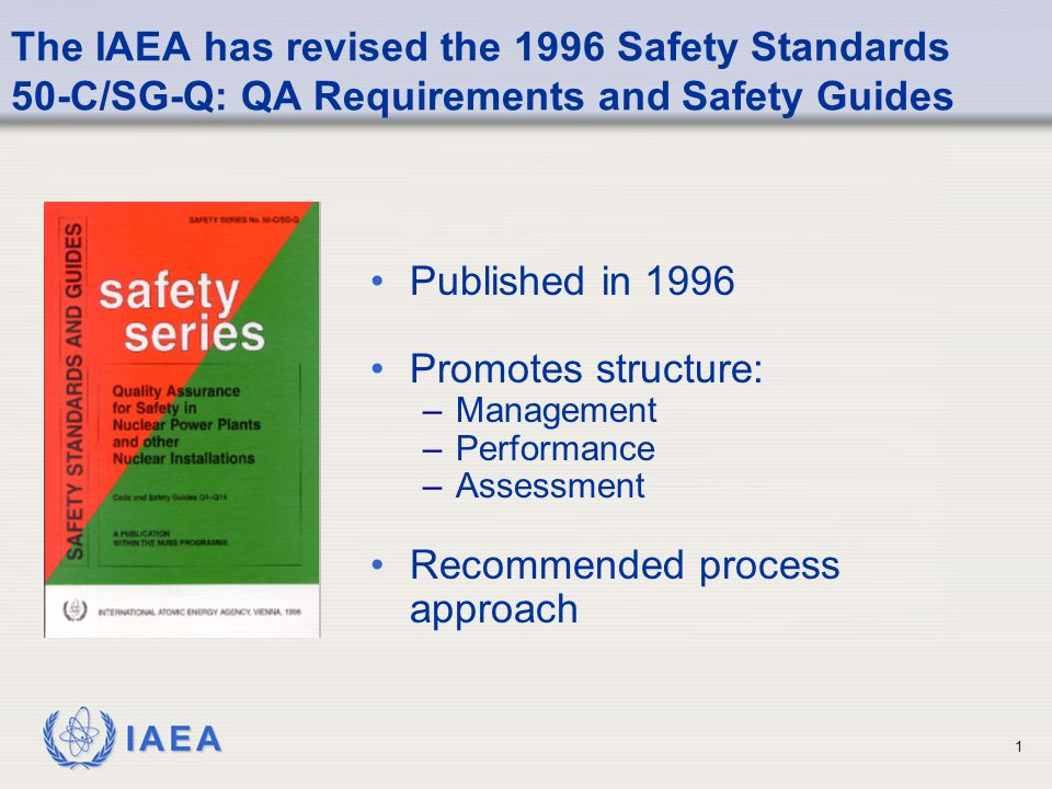 IAEA 1 The IAEA has revised the 1996 Safety Standards 50-C/SG-Q: QA Requirements and Safety Guides Published in 1996 Promotes structure: –Management –Performance –Assessment Recommended process approach