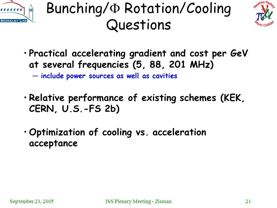 September 23, 2005ISS Plenary Meeting - Zisman21 Bunching/  Rotation/Cooling Questions Practical accelerating gradient and cost per GeV at several fr