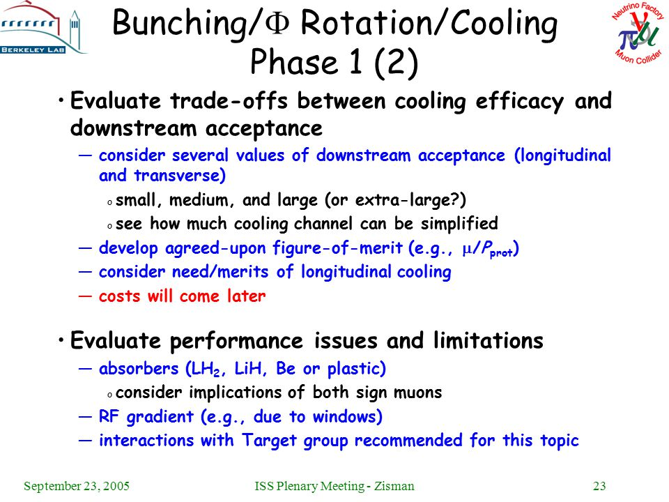 September 23, 2005ISS Plenary Meeting - Zisman23 Bunching/  Rotation/Cooling Phase 1 (2) Evaluate trade-offs between cooling efficacy and downstream acceptance —consider several values of downstream acceptance (longitudinal and transverse) o small, medium, and large (or extra-large ) o see how much cooling channel can be simplified —develop agreed-upon figure-of-merit (e.g.,  /P prot ) —consider need/merits of longitudinal cooling —costs will come later Evaluate performance issues and limitations —absorbers (LH 2, LiH, Be or plastic) o consider implications of both sign muons —RF gradient (e.g., due to windows) —interactions with Target group recommended for this topic