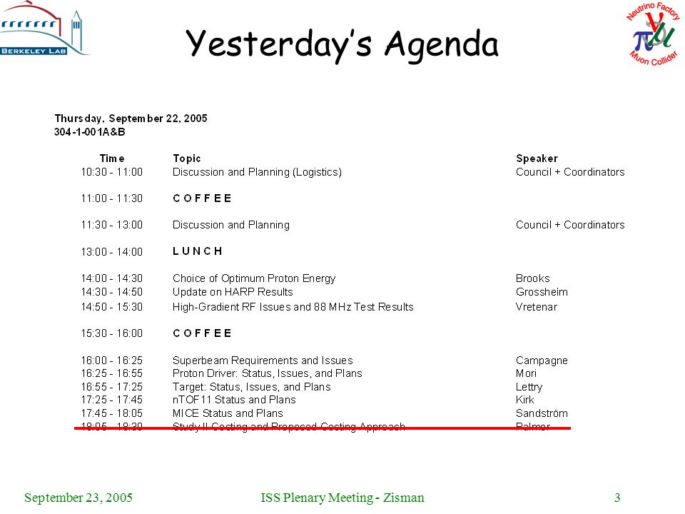September 23, 2005ISS Plenary Meeting - Zisman3 Yesterday's Agenda