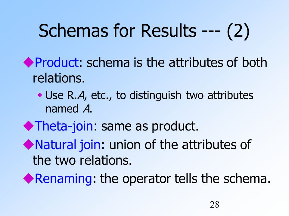28 Schemas for Results --- (2)  Product: schema is the attributes of both relations.