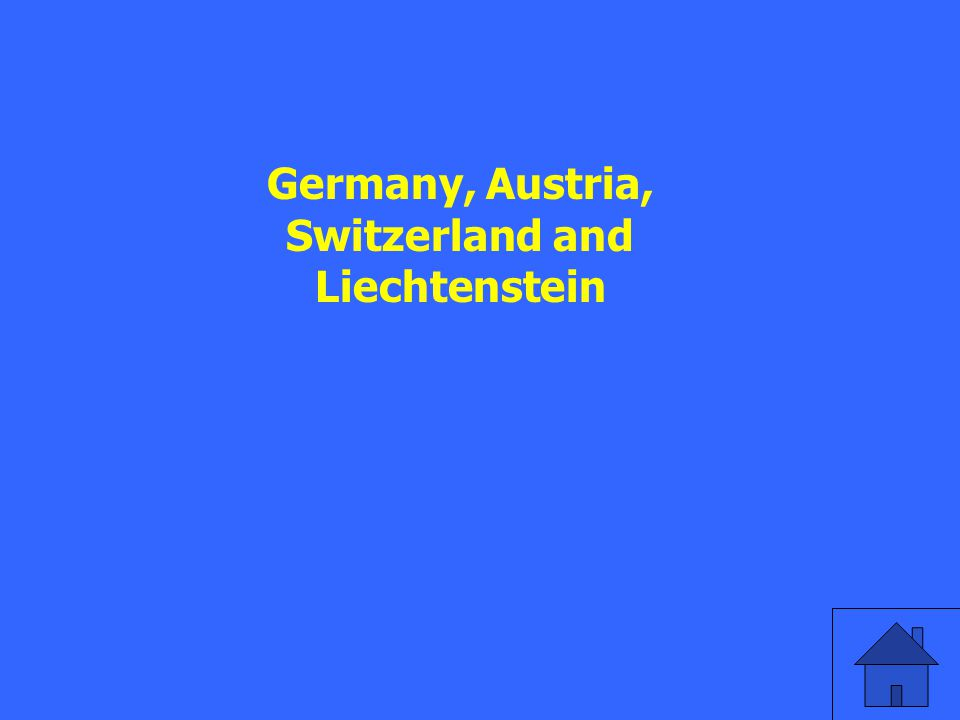 Name the 4 countries in which German is spoken.