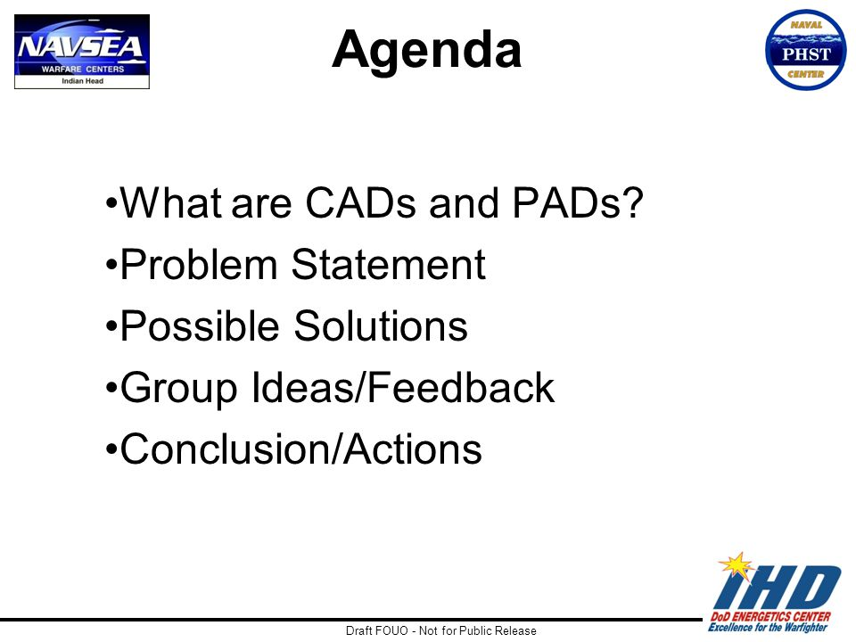 Draft FOUO - Not for Public Release Agenda What are CADs and PADs? Problem Statement Possible Solutions Group Ideas/Feedback Conclusion/Actions