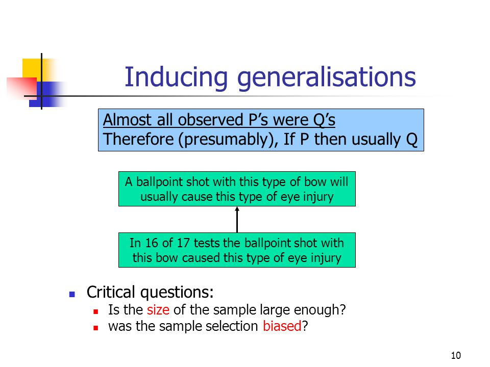10 Inducing generalisations Critical questions: Is the size of the sample large enough.