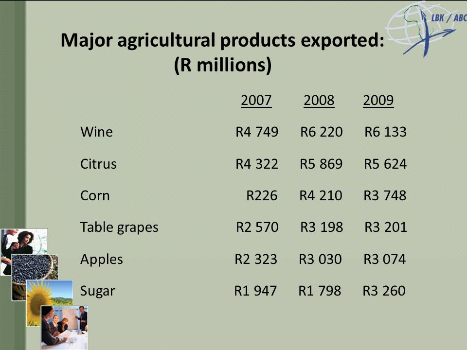Major agricultural products exported: (R millions) 2007 2008 2009 Wine R4 749 R6 220 R6 133 Citrus R4 322 R5 869 R5 624 Corn R226 R4 210 R3 748 Table grapes R2 570 R3 198 R3 201 Apples R2 323 R3 030 R3 074 Sugar R1 947 R1 798 R3 260