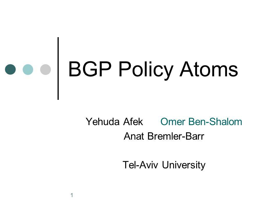 2 Outline Atom definition Atom calculation methods Atom stability Correlation to BGP update Atom creation points Using Atoms