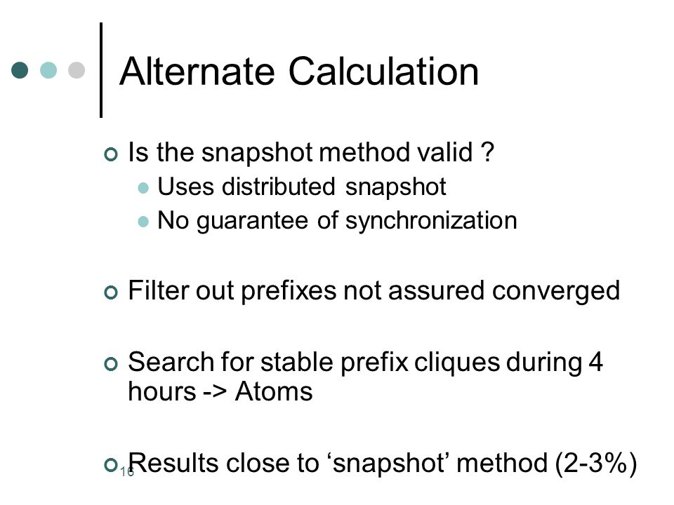 16 Alternate Calculation Is the snapshot method valid .