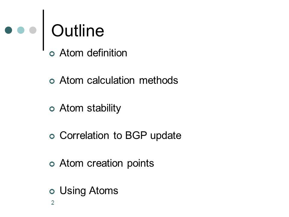 23 Atom split example AtomPrefixesAS path set #111.0.1.0/24 11.0.2.0/24 R1: 3 12 R2: 4 12 R3 5 12 #211.0.3.0/24 11.0.4.0/24 11.0.5.0/24 R1: 3 12 R2: 4 12 R3 6 12 New atom due to different path at R3 (len 2)