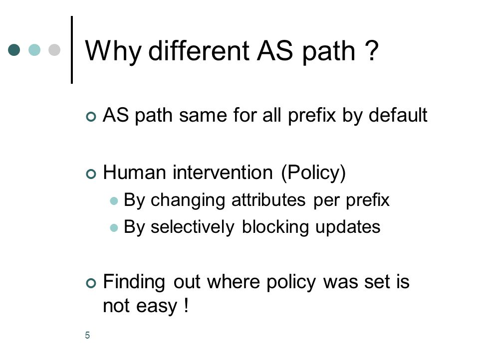 PrefixAS pathPreference 56.0.8.0/212 56200 1 56100 56.0.16.0/211 560 AS 56 AS 2 AS 1 AS 34 Network 56.0.8.0/21 Network 56.0.16.0/21 56.0.16.0 filter here .