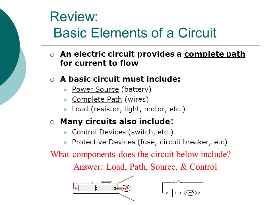 Review: Basic Elements of a Circuit  An electric circuit provides a complete path for current to flow  A basic circuit must include: Power Source (battery) Complete Path (wires) Load (resistor, light, motor, etc.)  Many circuits also include : Control Devices (switch, etc.) Protective Devices (fuse, circuit breaker, etc) What components does the circuit below include.