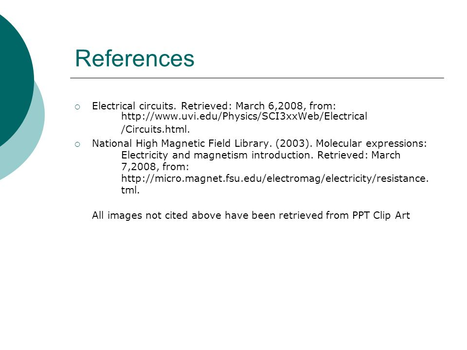 References  Electrical circuits.