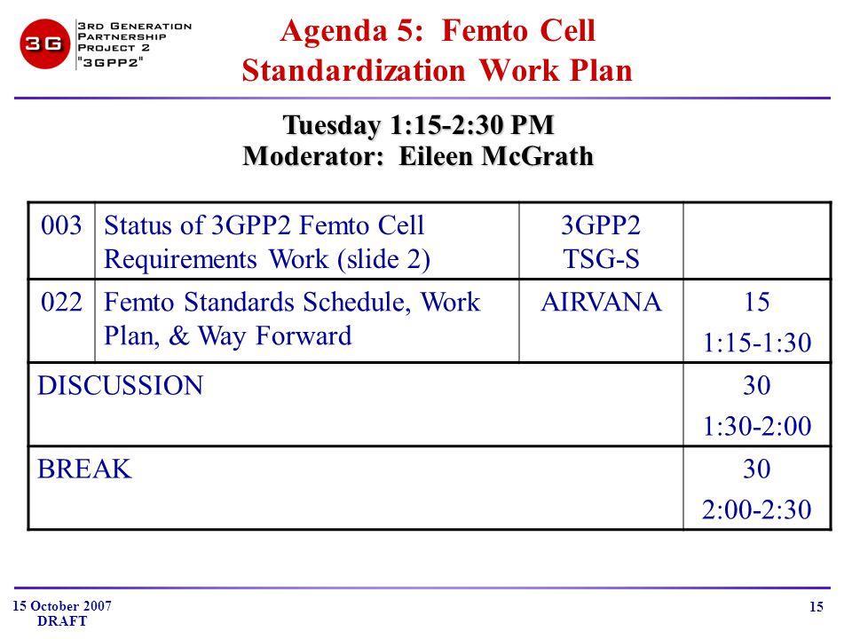 15 October 2007 DRAFT 15 Agenda 5: Femto Cell Standardization Work Plan Tuesday 1:15-2:30 PM Moderator: Eileen McGrath 003Status of 3GPP2 Femto Cell Requirements Work (slide 2) 3GPP2 TSG-S 022Femto Standards Schedule, Work Plan, & Way Forward AIRVANA15 1:15-1:30 DISCUSSION30 1:30-2:00 BREAK30 2:00-2:30