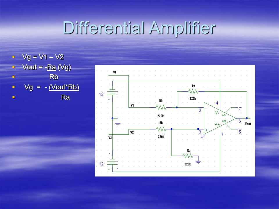 Differential Amplifier  Vg = V1 – V2  Vout = -Ra (Vg)  Rb  Vg = - (Vout*Rb)  Ra