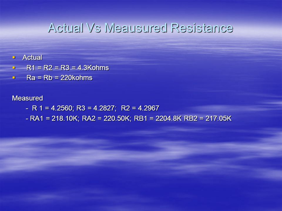 Actual Vs Meausured Resistance  Actual  R1 = R2 = R3 = 4.3Kohms  Ra = Rb = 220kohms Measured - R 1 = 4.2560; R3 = 4.2827; R2 = 4.2967 - R 1 = 4.2560; R3 = 4.2827; R2 = 4.2967 - RA1 = 218.10K; RA2 = 220.50K; RB1 = 2204.8K RB2 = 217.05K - RA1 = 218.10K; RA2 = 220.50K; RB1 = 2204.8K RB2 = 217.05K