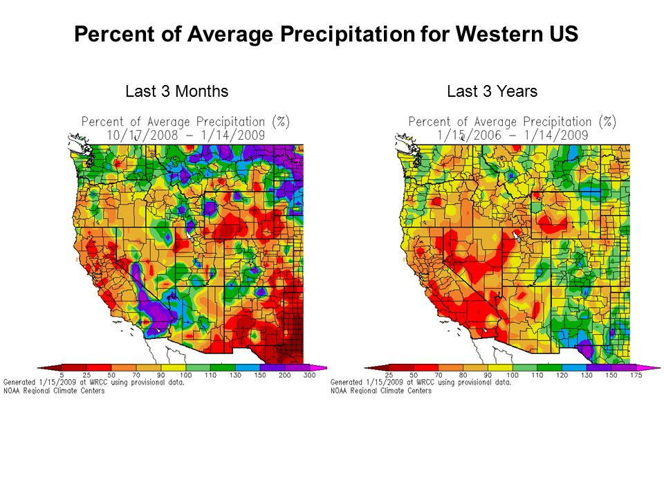 Percent of Average Precipitation for Western US Last 3 MonthsLast 3 Years