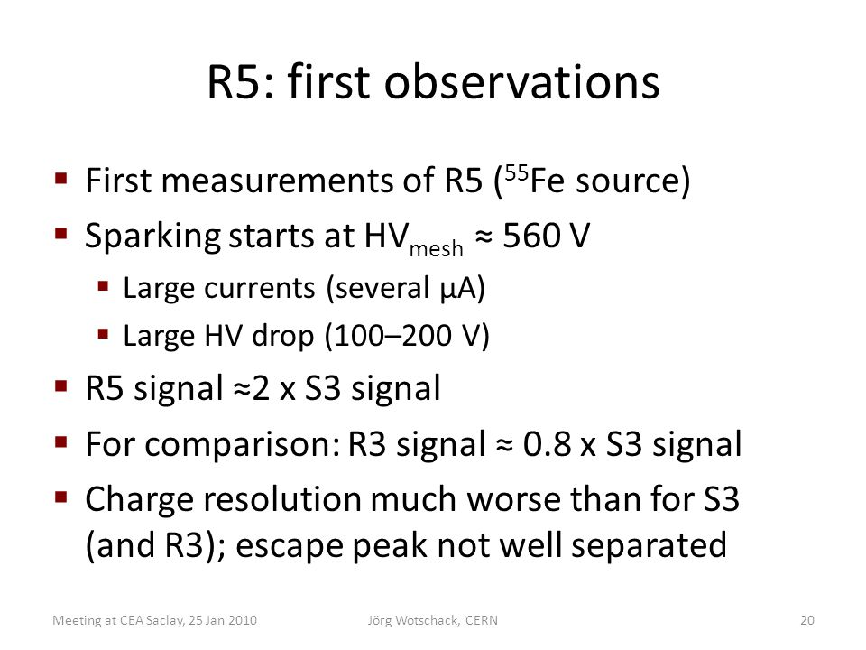R5: first observations  First measurements of R5 ( 55 Fe source)  Sparking starts at HV mesh ≈ 560 V  Large currents (several µA)  Large HV drop (100–200 V)  R5 signal ≈2 x S3 signal  For comparison: R3 signal ≈ 0.8 x S3 signal  Charge resolution much worse than for S3 (and R3); escape peak not well separated Meeting at CEA Saclay, 25 Jan 2010Jörg Wotschack, CERN20