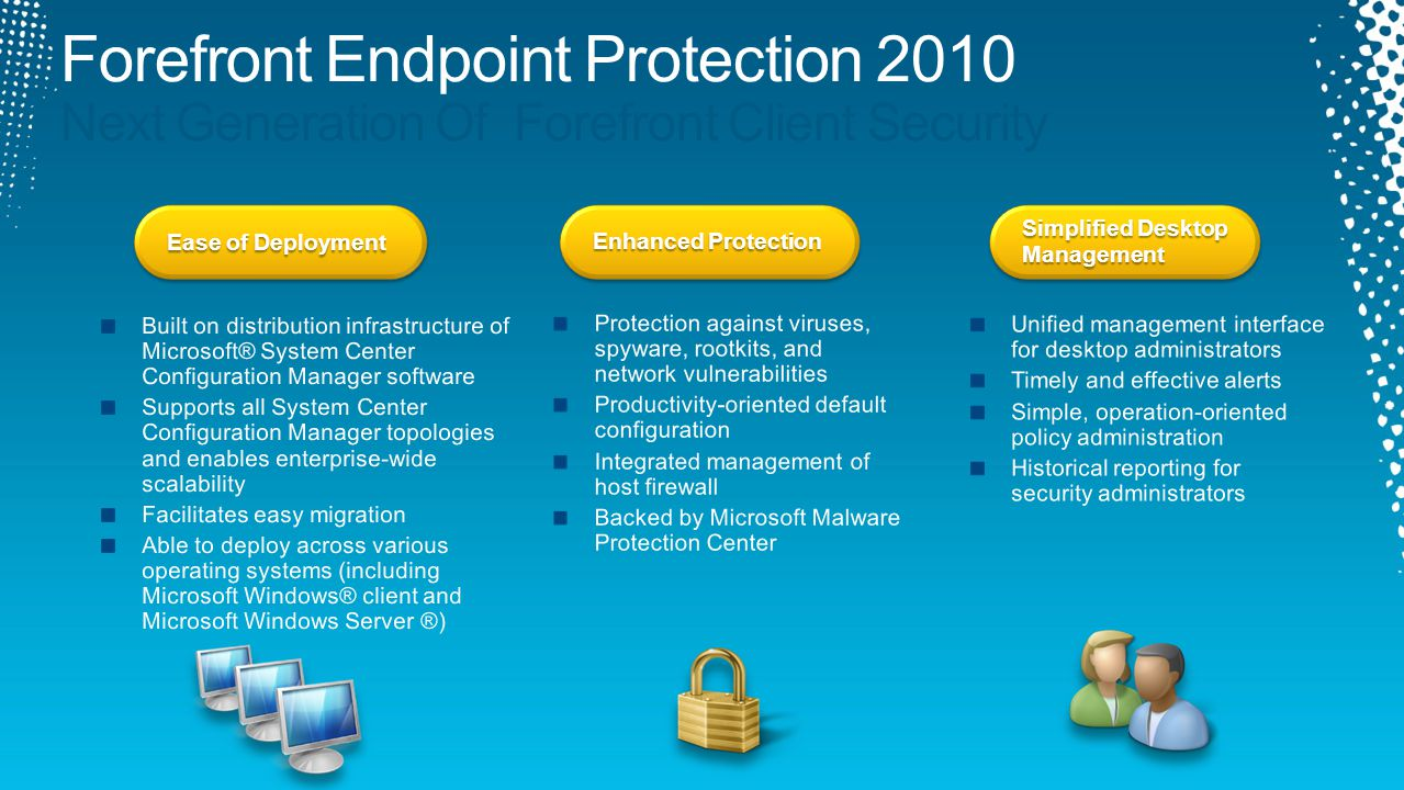 Ease of Deployment Enhanced Protection Simplified Desktop Management