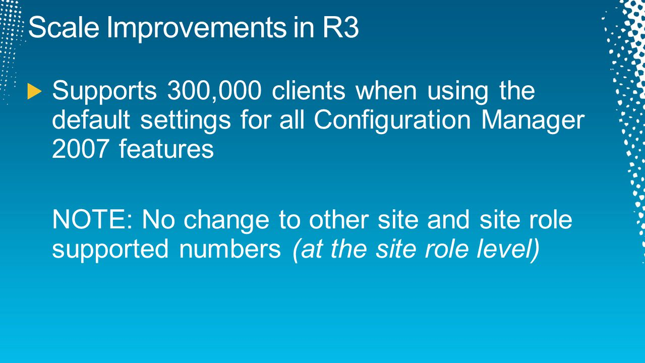 Focus for R3 is evaluating new systems New Collection setting 'Dynamically add new resources' Newly discovered machines will populate collections faster Full evaluations are still processed in the same way A new collection needs a full evaluation to show existing clients