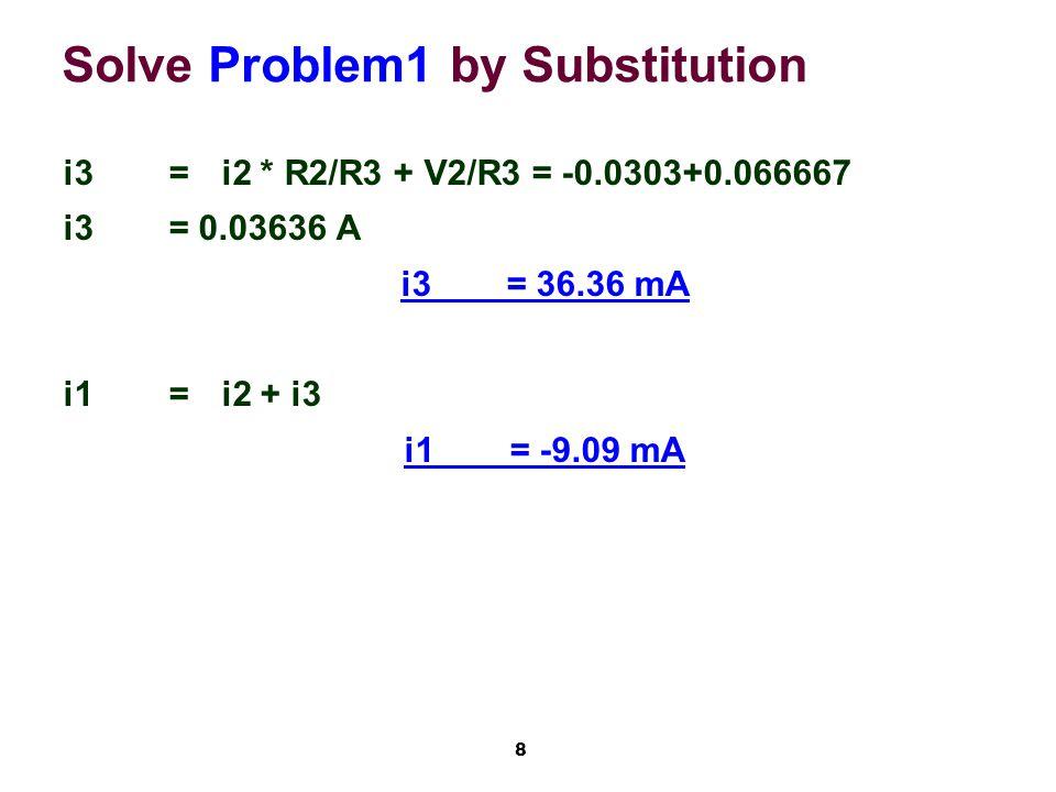 8 Solve Problem1 by Substitution i3=i2 * R2/R3 + V2/R3 = -0.0303+0.066667 i3= 0.03636 A i3= 36.36 mA i1=i2 + i3 i1= -9.09 mA