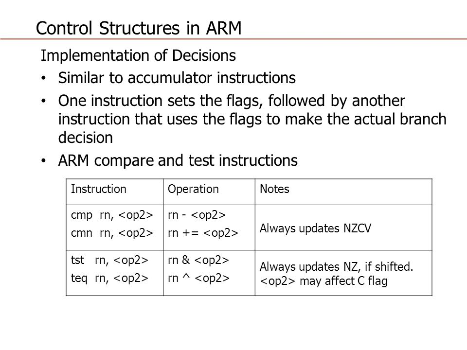 Control Structures in ARM Implementation of Decisions Similar to accumulator instructions One instruction sets the flags, followed by another instruction that uses the flags to make the actual branch decision ARM compare and test instructions InstructionOperationNotes cmp rn, cmn rn, rn - rn += Always updates NZCV tst rn, teq rn, rn & rn ^ Always updates NZ, if shifted.
