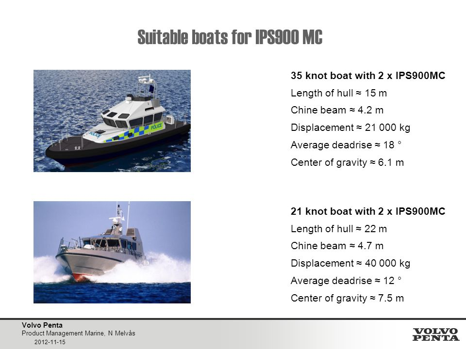 Volvo Penta Product Management Marine, N Melvås 2012-11-15 Suitable boats for IPS900 MC 35 knot boat with 2 x IPS900MC Length of hull ≈ 15 m Chine beam ≈ 4.2 m Displacement ≈ 21 000 kg Average deadrise ≈ 18 ° Center of gravity ≈ 6.1 m 21 knot boat with 2 x IPS900MC Length of hull ≈ 22 m Chine beam ≈ 4.7 m Displacement ≈ 40 000 kg Average deadrise ≈ 12 ° Center of gravity ≈ 7.5 m