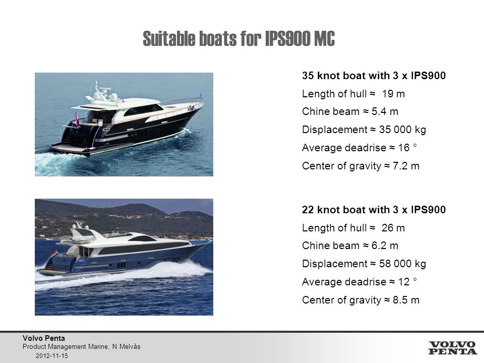Volvo Penta Product Management Marine, N Melvås 2012-11-15 Suitable boats for IPS900 MC 35 knot boat with 3 x IPS900 Length of hull ≈ 19 m Chine beam ≈ 5.4 m Displacement ≈ 35 000 kg Average deadrise ≈ 16 ° Center of gravity ≈ 7.2 m 22 knot boat with 3 x IPS900 Length of hull ≈ 26 m Chine beam ≈ 6.2 m Displacement ≈ 58 000 kg Average deadrise ≈ 12 ° Center of gravity ≈ 8.5 m BÅT 5