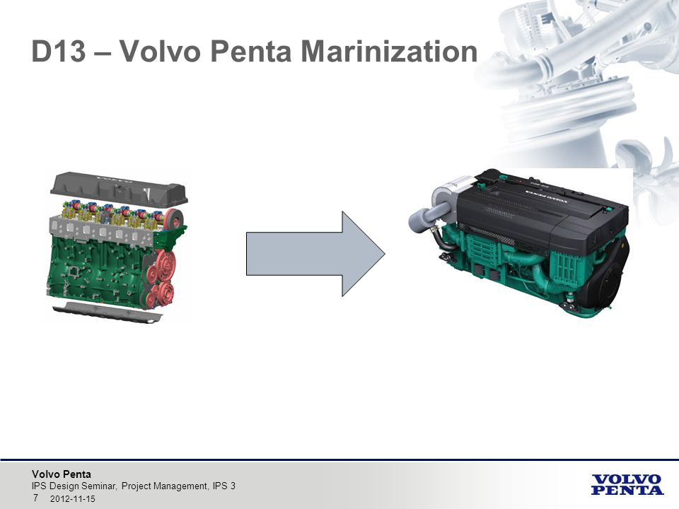 Volvo Penta D13 – Volvo Penta Marinization IPS Design Seminar, Project Management, IPS 3 7 2012-11-15