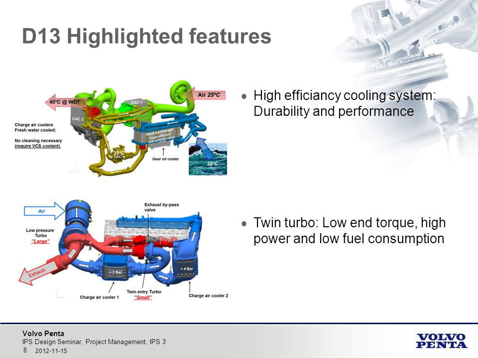 Volvo Penta D13 Highlighted features IPS Design Seminar, Project Management, IPS 3 8 2012-11-15  High efficiancy cooling system: Durability and perfo