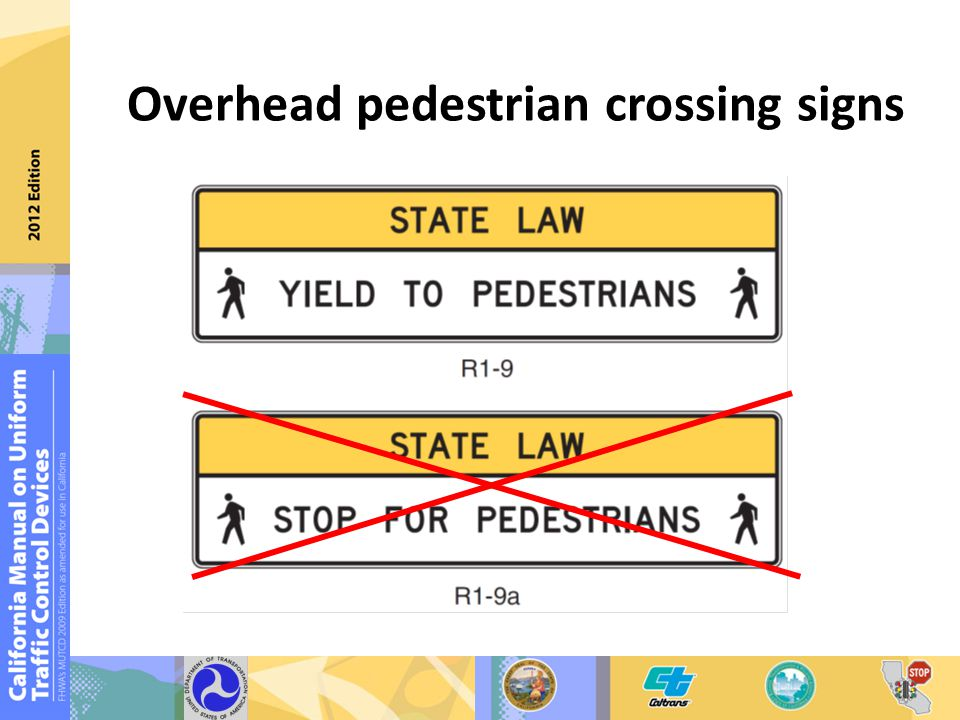 Overhead pedestrian crossing signs