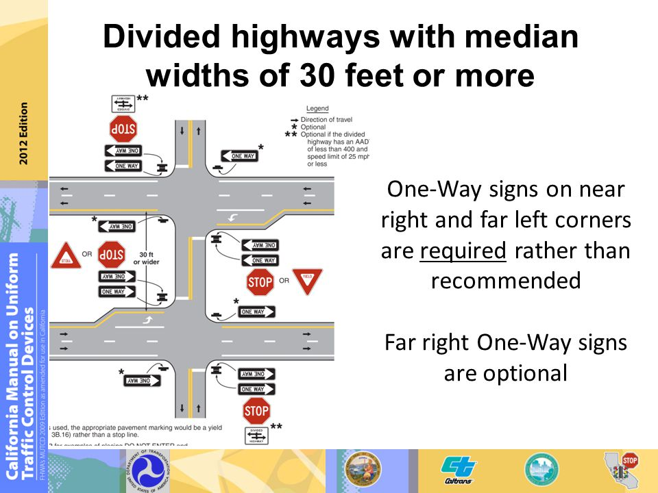 One-Way signs on near right and far left corners are required rather than recommended Far right One-Way signs are optional Divided highways with media