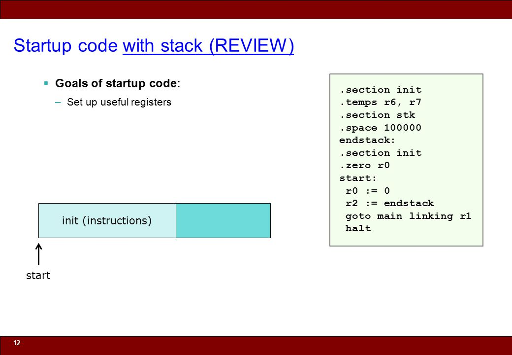 © 2010 Noah Mendelsohn Startup code with stack (REVIEW)  Goals of startup code: –Set up useful registers 12 init (instructions) start.section init.temps r6, r7.section stk.space 100000 endstack:.section init.zero r0 start: r0 := 0 r2 := endstack goto main linking r1 halt