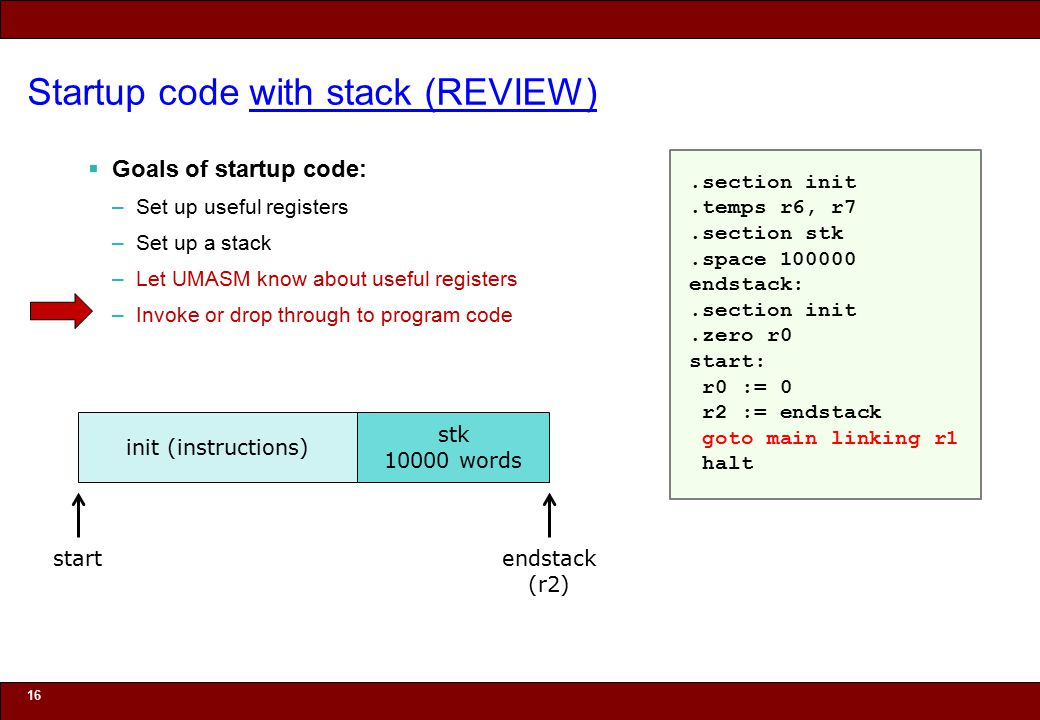 © 2010 Noah Mendelsohn Startup code with stack (REVIEW)  Goals of startup code: –Set up useful registers –Set up a stack –Let UMASM know about useful registers –Invoke or drop through to program code 16 init (instructions) start stk 10000 words endstack (r2).section init.temps r6, r7.section stk.space 100000 endstack:.section init.zero r0 start: r0 := 0 r2 := endstack goto main linking r1 halt