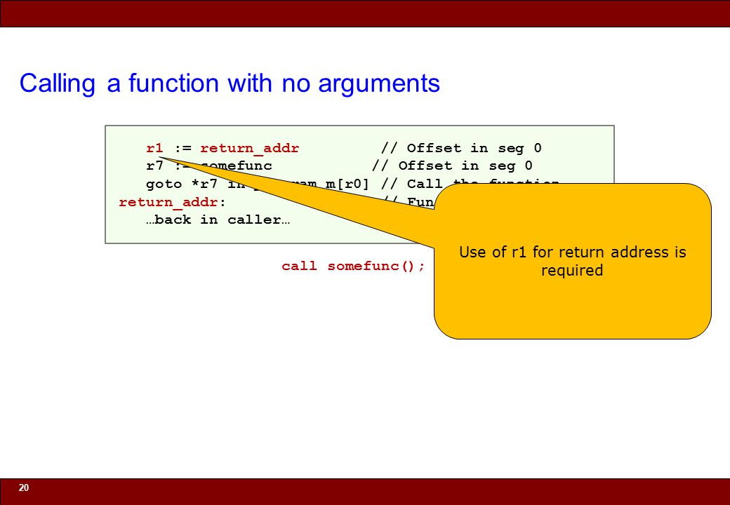 © 2010 Noah Mendelsohn Calling a function with no arguments 20 r1 := return_addr // Offset in seg 0 r7 := somefunc // Offset in seg 0 goto *r7 in program m[r0] // Call the function return_addr: // Function returns here …back in caller… call somefunc(); Use of r1 for return address is required