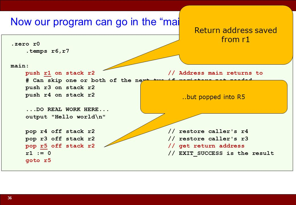 © 2010 Noah Mendelsohn Now our program can go in the main function 36.zero r0.temps r6,r7 main: push r1 on stack r2 // Address main returns to # Can skip one or both of the next two if registers not needed push r3 on stack r2 // Callee saves non-volatile reg push r4 on stack r2 // Callee saves non-volatile reg...DO REAL WORK HERE...