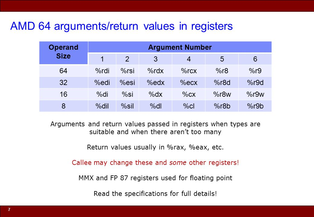 © 2010 Noah Mendelsohn AMD 64 arguments/return values in registers 7 Arguments and return values passed in registers when types are suitable and when there aren't too many Return values usually in %rax, %eax, etc.