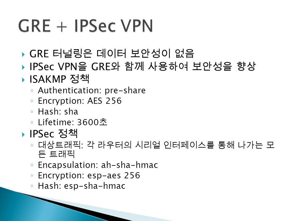  GRE 터널링은 데이터 보안성이 없음  IPSec VPN 을 GRE 와 함께 사용하여 보안성을 향상  ISAKMP 정책 ◦ Authentication: pre-share ◦ Encryption: AES 256 ◦ Hash: sha ◦ Lifetime: 3600 초  IPSec 정책 ◦ 대상트래픽 : 각 라우터의 시리얼 인터페이스를 통해 나가는 모 든 트래픽 ◦ Encapsulation: ah-sha-hmac ◦ Encryption: esp-aes 256 ◦ Hash: esp-sha-hmac