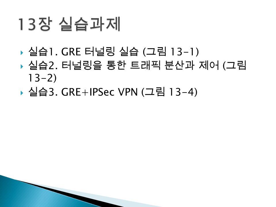  실습 1. GRE 터널링 실습 ( 그림 13-1)  실습 2. 터널링을 통한 트래픽 분산과 제어 ( 그림 13-2)  실습 3.