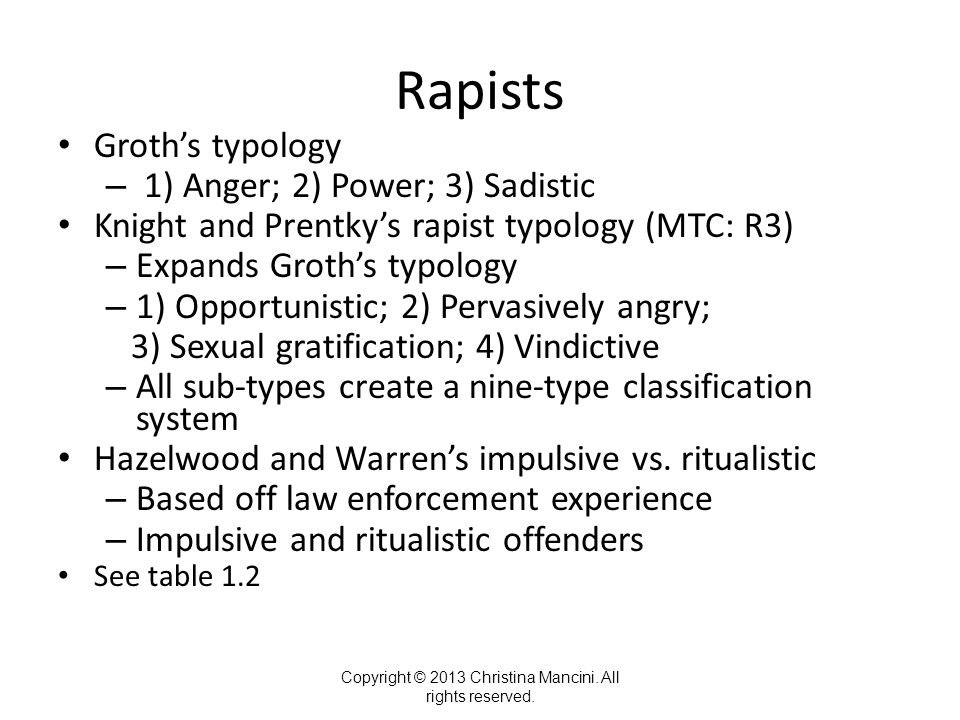Rapists Groth's typology – 1) Anger; 2) Power; 3) Sadistic Knight and Prentky's rapist typology (MTC: R3) – Expands Groth's typology – 1) Opportunistic; 2) Pervasively angry; 3) Sexual gratification; 4) Vindictive – All sub-types create a nine-type classification system Hazelwood and Warren's impulsive vs.