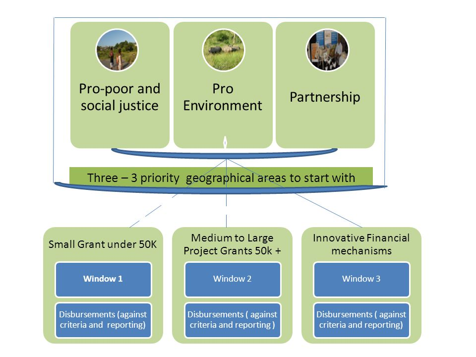 Pro-poor and social justice Pro Environment Partnership Three – 3 priority geographical areas to start with Small Grant under 50K Window 1 Disbursemen