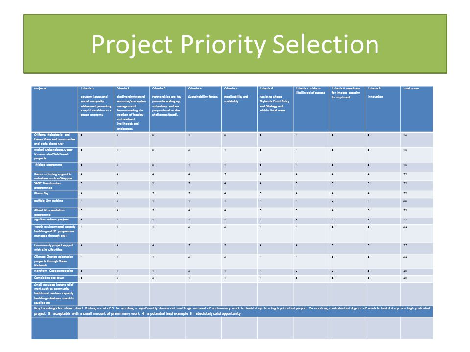 Project Priority Selection Projects Criteria 1 poverty issues and social inequality addressed promoting a rapid transition to a green economy Criteria