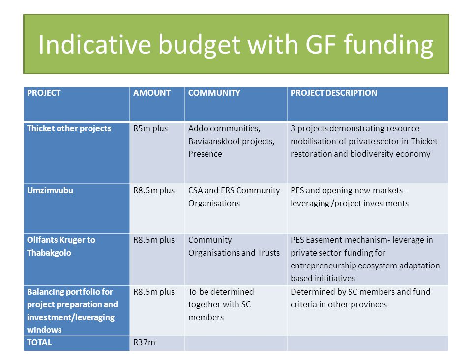 Indicative budget with GF funding PROJECTAMOUNTCOMMUNITYPROJECT DESCRIPTION Thicket other projectsR5m plus Addo communities, Baviaanskloof projects, Presence 3 projects demonstrating resource mobilisation of private sector in Thicket restoration and biodiversity economy UmzimvubuR8.5m plus CSA and ERS Community Organisations PES and opening new markets - leveraging /project investments Olifants Kruger to Thabakgolo R8.5m plus Community Organisations and Trusts PES Easement mechanism- leverage in private sector funding for entrepreneurship ecosystem adaptation based inititiatives Balancing portfolio for project preparation and investment/leveraging windows R8.5m plus To be determined together with SC members Determined by SC members and fund criteria in other provinces TOTALR37m