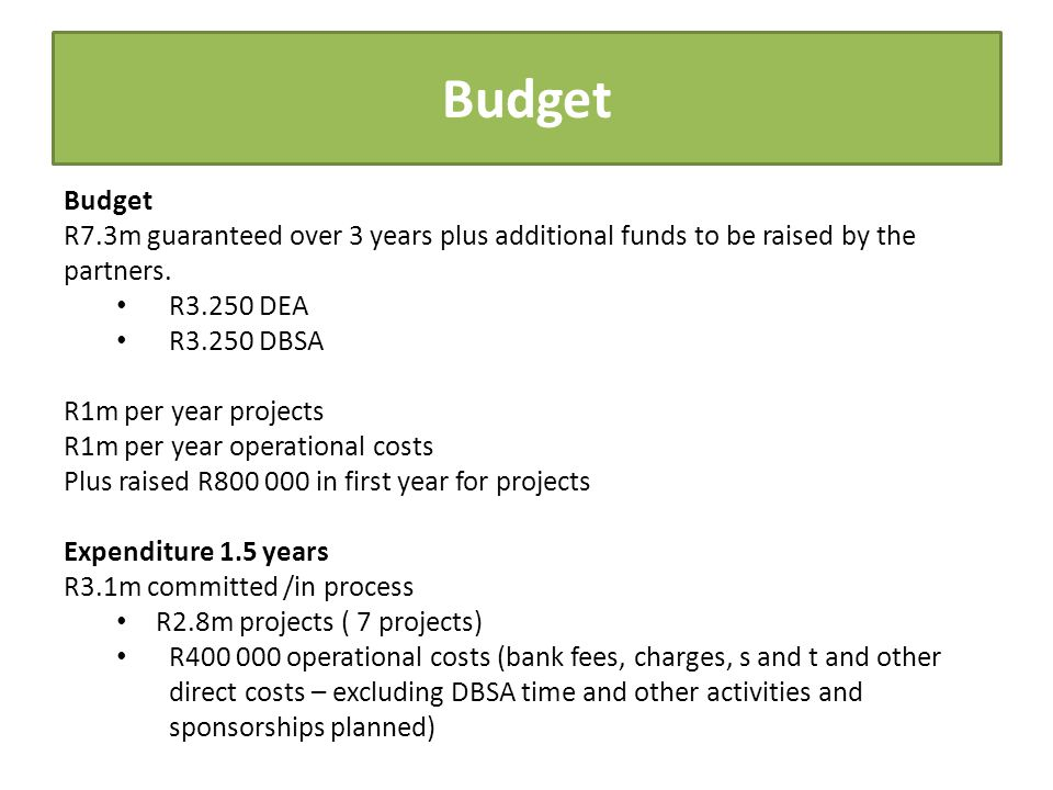 Budget R7.3m guaranteed over 3 years plus additional funds to be raised by the partners.
