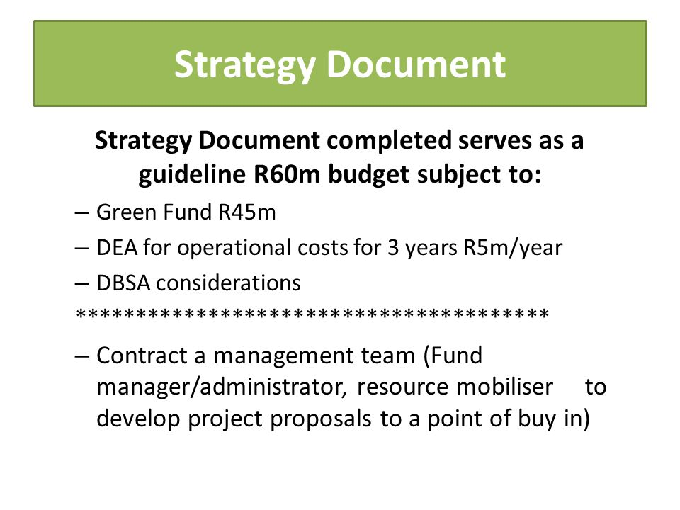 Strategy Document Strategy Document completed serves as a guideline R60m budget subject to: – Green Fund R45m – DEA for operational costs for 3 years