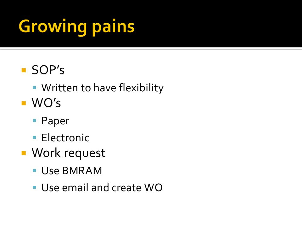  SOP's  Written to have flexibility  WO's  Paper  Electronic  Work request  Use BMRAM  Use email and create WO