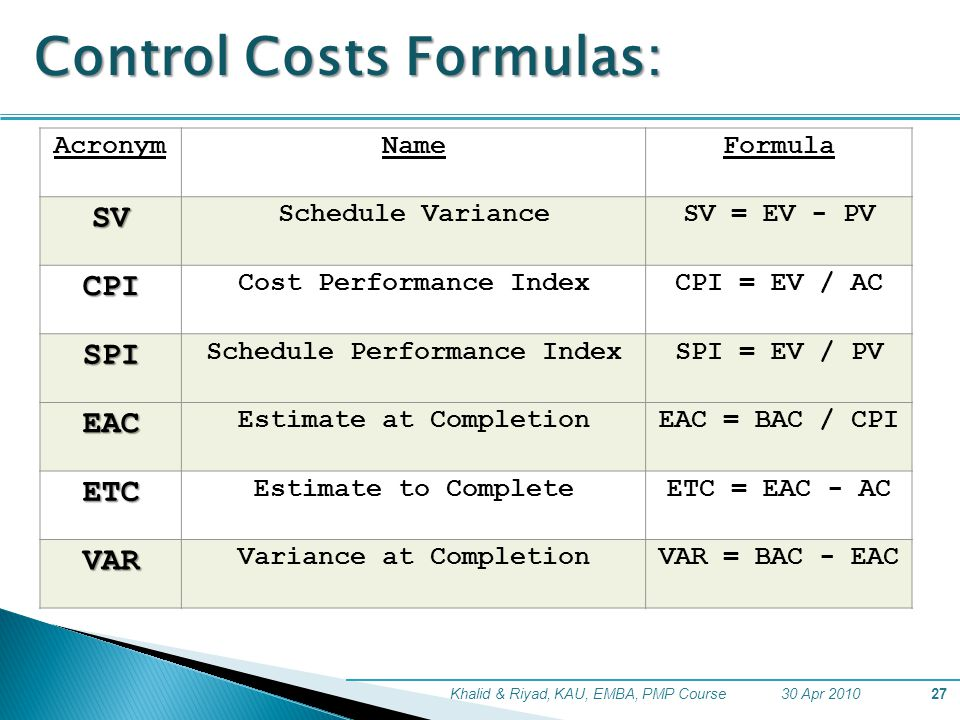30 Apr 2010Khalid & Riyad, KAU, EMBA, PMP Course27 Control Costs Formulas: AcronymNameFormula SV Schedule VarianceSV = EV - PV CPI Cost Performance IndexCPI = EV / AC SPI Schedule Performance IndexSPI = EV / PV EAC Estimate at CompletionEAC = BAC / CPI ETC Estimate to CompleteETC = EAC - AC VAR Variance at CompletionVAR = BAC - EAC