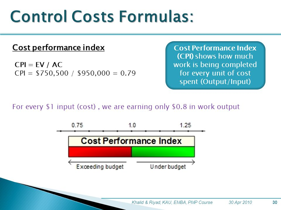 30 Apr 2010Khalid & Riyad, KAU, EMBA, PMP Course30 Control Costs Formulas: Cost performance index CPI = EV / AC CPI = $750,500 / $950,000 = 0.79 For e