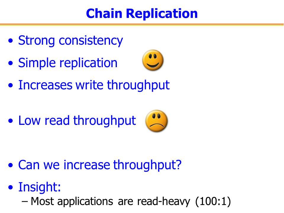 CRAQ Two states per object – clean and dirty Replica TAIL Replica HEAD Read Request V1V1 V1V1 V1V1 V1V1 V1V1
