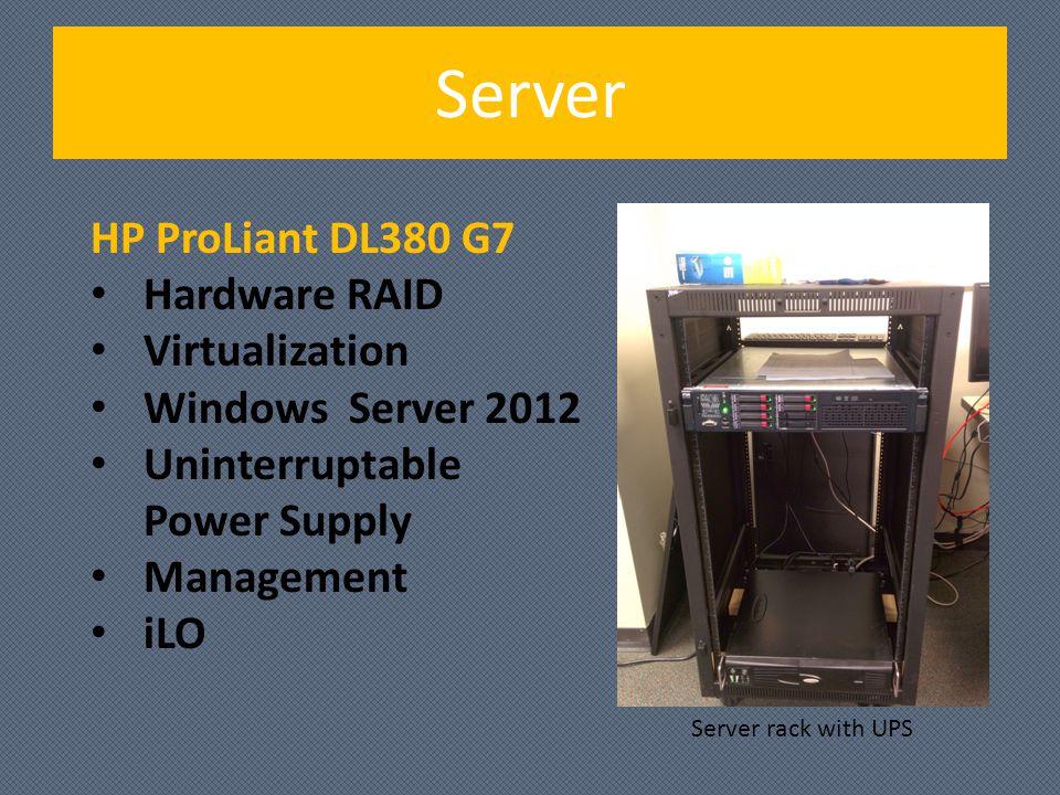 Server HP ProLiant DL380 G7 Hardware RAID Virtualization Windows Server 2012 Uninterruptable Power Supply Management iLO Server rack with UPS