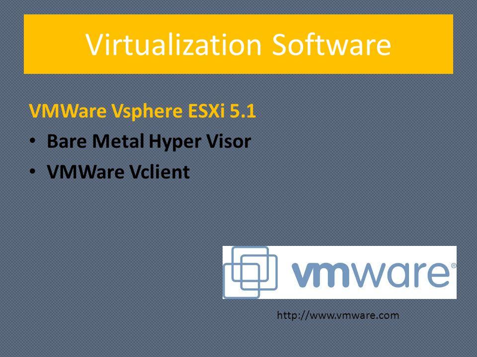 Virtualization Software VMWare Vsphere ESXi 5.1 Bare Metal Hyper Visor VMWare Vclient http://www.vmware.com