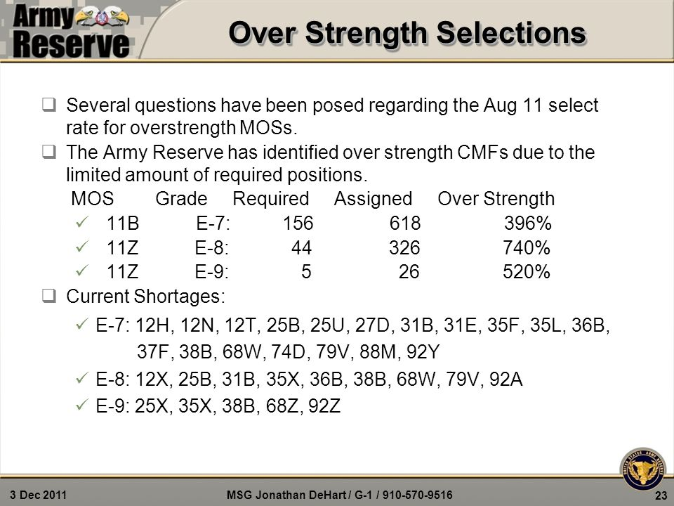 MSG Jonathan DeHart / G-1 / 910-570-9516 3 Dec 2011 23 Over Strength Selections  Several questions have been posed regarding the Aug 11 select rate f